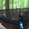 Guy avoiding bugs with a hammock bug net